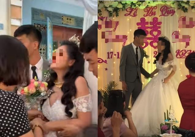 CLIP: Đám cưới hạnh phúc nhưng phản ứng quá đà của cô dâu làm dân mạng xôn xao tranh cãi-1