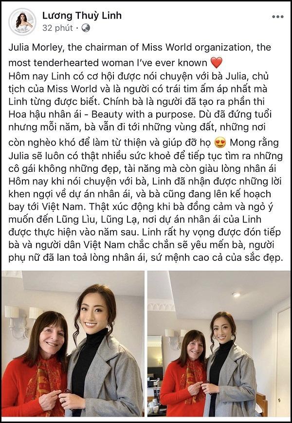 Lương Thùy Linh trò chuyện thân mật, nhận cơn mưa lời khen từ chủ tịch Miss World-3