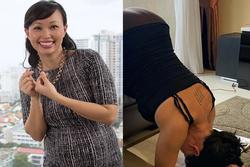 Đăng ảnh tập yoga ở tháng cuối thai kì, 'Shark' Linh - Thương Vụ Bạc Tỷ làm ai cũng tò mò hình xăm sau lưng
