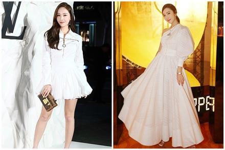 Jessica được khen trông như nữ thần khi diện váy áo màu trắng