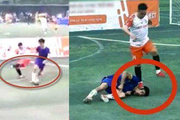 Clip: Kinh hoàng nhìn thanh niên bị cầu thủ đối phương đốn ngã, đạp gãy cổ trong trận bóng ở Thái Nguyên-1