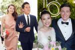 Trường Giang - Nhã Phương lên đồ đẹp đôi, tay trong tay đi ăn cưới Hoàng Oanh