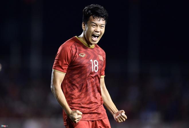 Văn Lâm ăn mừng bàn gỡ hòa của U22 Việt Nam trước U22 Indonesia-2
