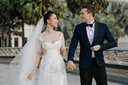 Lộ vòng eo bất thường trong đám cưới, Á hậu Hoàng Oanh vướng nghi án mang bầu