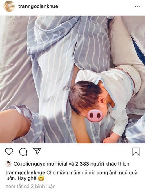 Cảnh bỉm sữa của Lan Khuê sau 1 tuần sinh: Cho con bú, áo xộc xệch chẳng kịp cài cúc-3