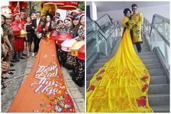 Tổ chức đám cưới lần thứ 10, Thanh Bạch - Thúy Nga quyết giữ bản quyền mặc váy quét đường đuôi dài 5m