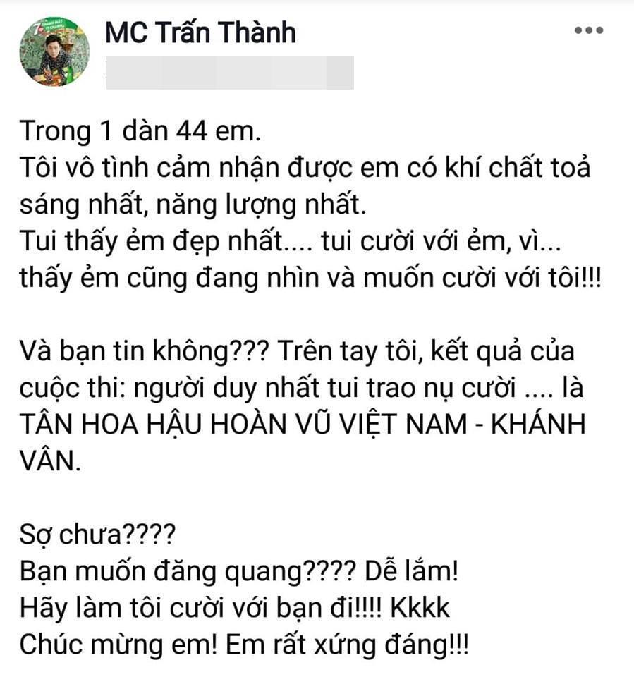 Trấn Thành hết lời khen ngợi Nguyễn Trần Khánh Vân, Hari Won lập tức kèn cựa tân hoa hậu-1