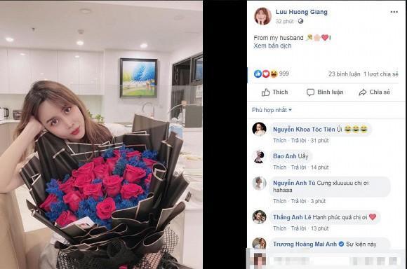 Khoe hoa chồng tặng, Lưu Hương Giang vô tình hé lộ không gian căn hộ mới-1
