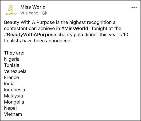 Lương Thùy Linh lọt top 10 Hoa hậu Nhân ái tại Miss World 2019-1