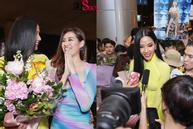 Hoàng Thùy mặc áo dài về nước sau Miss Universe, khiến sân bay tưng bừng lúc nửa đêm