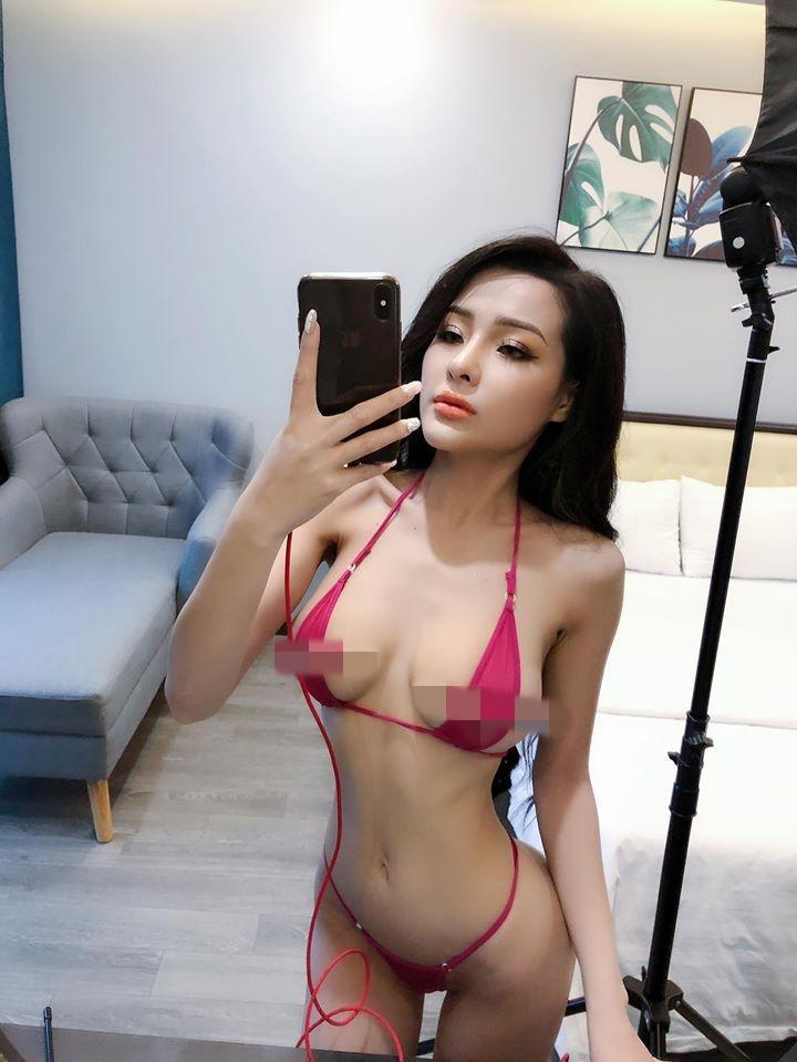 Đã nghiện các loại bikini bé xíu, Ngân 98 còn cắt ngắn thêm khiến vòng 1 siêu to khổng lồ chỉ chực xé rào-5