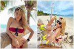 Đã nghiện các loại bikini bé xíu, Ngân 98 còn cắt ngắn thêm khiến vòng 1 'siêu to khổng lồ' chỉ chực 'xé rào'