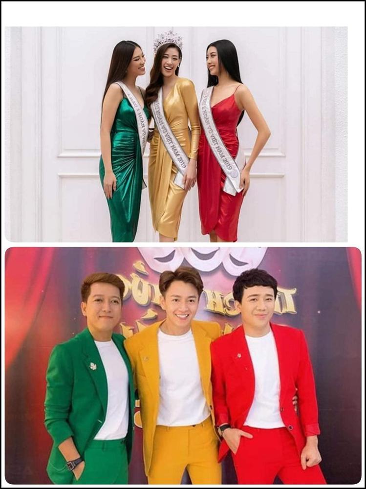 Bị chê ăn mặc giống đèn giao thông, Ngô Kiến Huy mang ngay top 3 hoa hậu ra chứng minh mình không dị-2