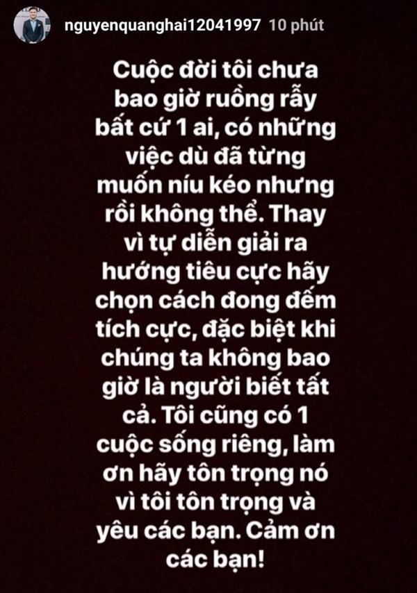 Quang Hải nói về tin đồn tình cảm: Tôi chưa bao giờ ruồng rẫy ai-1