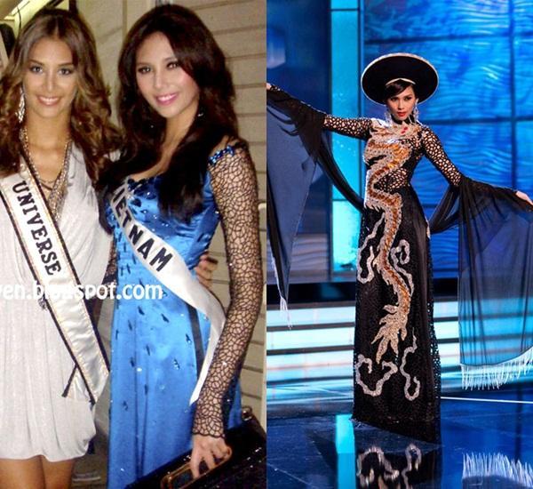 Hoàng Thùy và Lệ Hằng quên mặc áo dài tại Hoa hậu Hoàn vũ-7