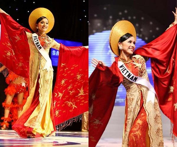 Hoàng Thùy và Lệ Hằng quên mặc áo dài tại Hoa hậu Hoàn vũ-5
