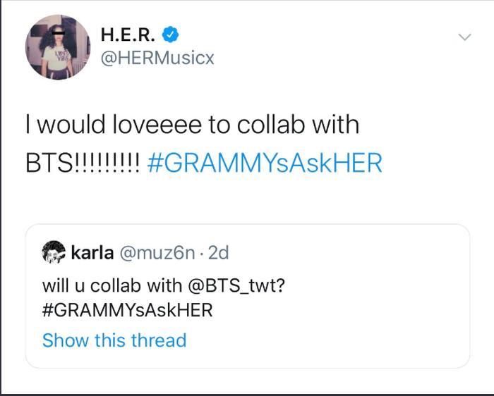 Nữ ca sĩ được BTS trao giải Grammy H.E.R thả thính hợp tác, một siêu phẩm âm nhạc sắp xuất hiện?-2