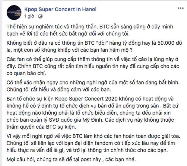 BTC Kpop Super Concert phản hồi tin đồn đòi fan EXO nộp 1 tỷ để mang xe đồ ăn vào SVĐ Mỹ Đình-4