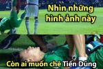 Ảnh chế thủ môn Bùi Tiến Dũng lăn xả trong trận hòa U23 UAE