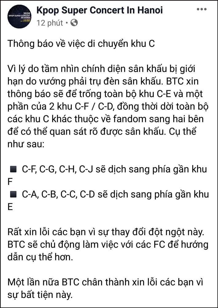 Trước giờ diễn chính thức chưa đầy 24h đồng hồ, BTC Kpop concert in Hanoi lại khiến fan phẫn nộ về chuyện chỗ ngồi-1