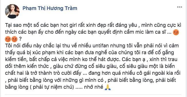 Chi Pu nhớ dai chuyện cũ, đưa status của Hương Tràm, Tóc Tiên nghi đá xéo cô lên MV mới-2