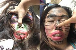 Vợ say rượu bị chồng vẽ chằng chịt lên mặt, nhìn ảnh thật càng đáng ngạc nhiên