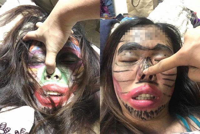 Vợ say rượu bị chồng vẽ chằng chịt lên mặt, nhìn ảnh thật càng đáng ngạc nhiên-1