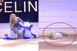 Tân Hoa hậu Bỉ 2020 té ngã trên sân khấu, văng luôn cả áo ngực