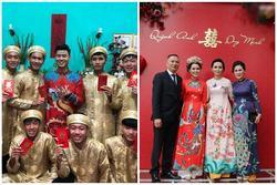 Chú rể Đỗ Duy Mạnh trang điểm 'sương sương', cô dâu Quỳnh Anh vấn đầu tổ chim trong lễ ăn hỏi