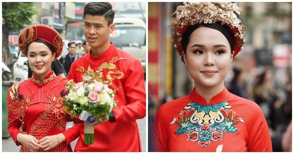 Sau diện mạo hơi dừ trong ngày ăn hỏi, fan hy vọng vợ tương lai Đỗ Duy Mạnh đổi phong cách trong ngày cưới-1