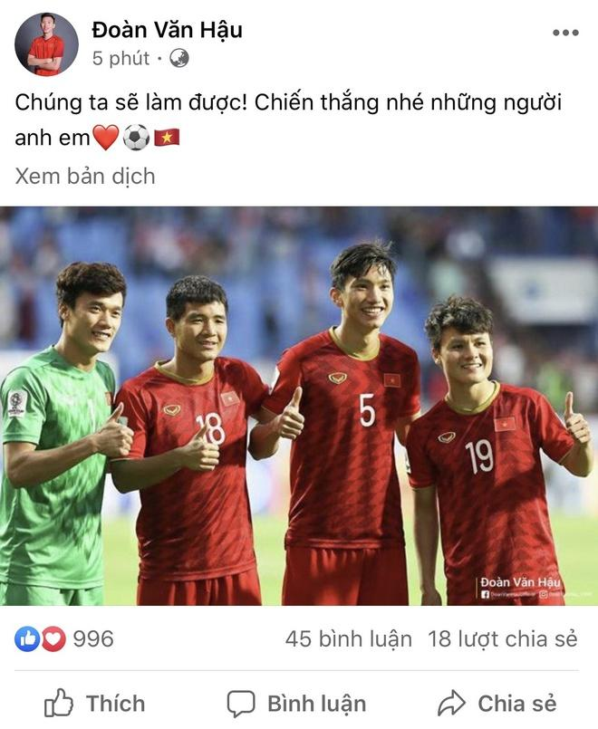 Văn Hậu chúc Quang Hải, Bùi Tiến Dũng chiến thắng U23 Triều Tiên-1
