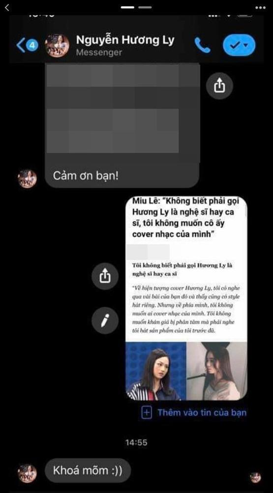 Rò rỉ tin nhắn Hương Ly muốn khóa mõm Miu Lê vì phát ngôn cà khịa dù không quen biết-3