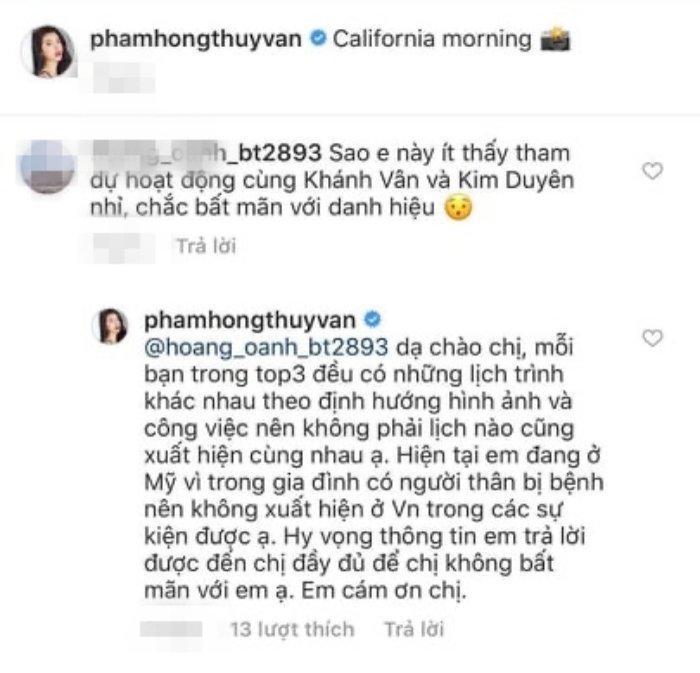 Thúy Vân đáp trả khi bị trách không xuất hiện với Khánh Vân, Kim Duyên vì bất mãn danh hiệu-5