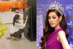 Không nhận ra hoa hậu Khánh Vân với hình ảnh dọn nhà đón Tết