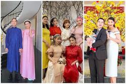 Mùng 1 Tết: Vợ chồng Hà Tăng diện áo dài - vợ chồng Lan Khuê lên đồ concept đen trắng