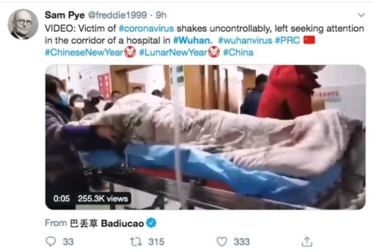 Clip: Khiếp sợ bệnh nhân bị virus corona hành hạ, rung bần bật trên cáng ở bệnh viện Vũ Hán-1