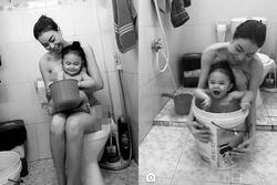 Trà Ngọc Hằng gây sốt với hình ảnh tắm cùng con gái ngày đầu năm
