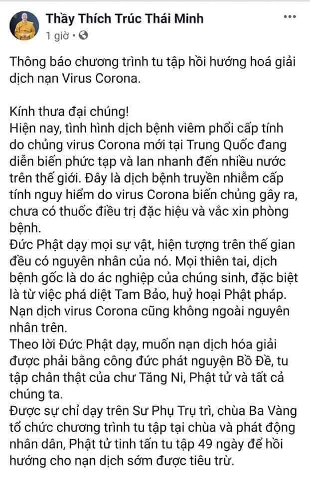 Trụ trì chùa Ba Vàng tổ chức hóa giải virus corona đã bị xử lý-2