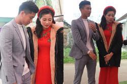 Vợ Phan Văn Đức lộ vẻ mệt mỏi, phải có người dìu trong ngày cưới