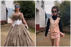 Lên đồ chất lừ như fashionista với trang phục từ da heo, cây lau, quần áo cũ