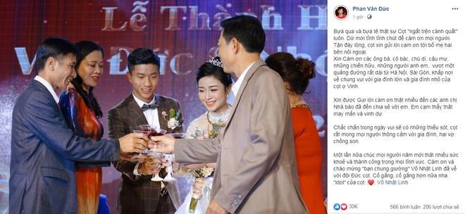Phan Văn Đức cảm ơn và gọi vợ là idol sau lễ cưới-1