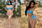 Lấy khẩu trang làm bikini che vòng 1 lẫn vòng 3 giữa đại dịch corona, mẫu nữ gốc An Giang bị chỉ trích gay gắt