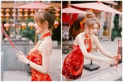 Diện đồ quá hở khi lễ chùa đầu năm, hot girl bị chỉ trích nặng nề