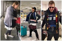 Sợ quá cân hành lý, hành khách không ngại nhồi nhét cả chục chiếc áo lên người