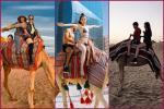 Cùng chụp ảnh cưỡi lạc đà: Ngọc Trinh sexy với bikini bé tí, Hương Giang lạ lẫm khi kín cổng cao tường