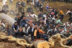 Trò trượt gỗ lao dốc nguy hiểm trong lễ hội cổ ở Nhật Bản