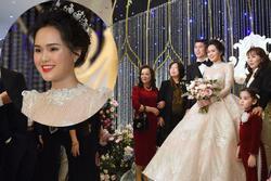 HOT: Cô dâu Quỳnh Anh xuất hiện lộng lẫy như công chúa sánh bước bên chú rể Duy Mạnh trong tiệc cưới