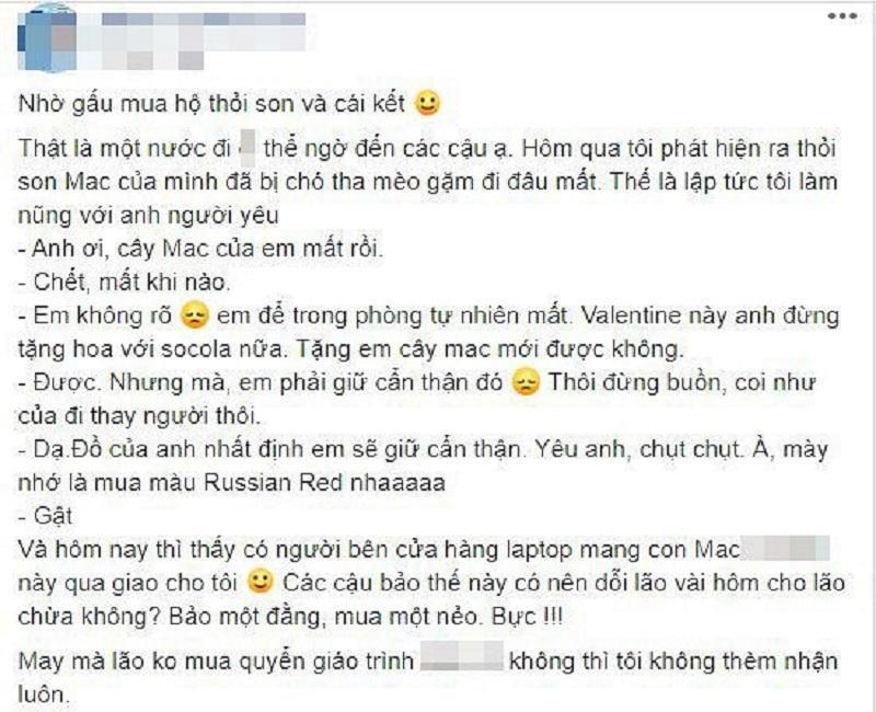 Đòi mua son MAC, cô gái được bạn trai tậu hẳn Macbook về làm quà khiến dân mạng trầm trồ vì quá hời-1
