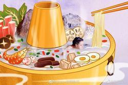 Cảnh tắm của Địch Lệ Nhiệt Ba được ví như... nồi lẩu nấm