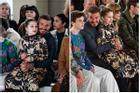 Lên đồ ra dáng người lớn khi tham dự 'Tuần lễ thời trang London' nhưng Harper vẫn là công chúa bé bỏng trong vòng tay bố